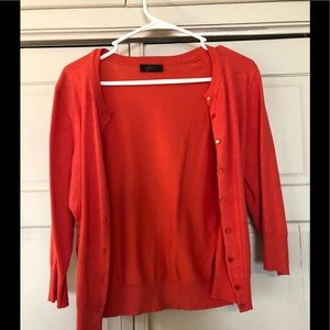 Sweaters - Coral orange colored cardigan, size med. Like new!